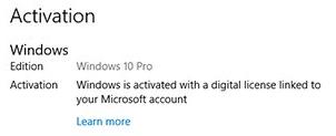 Windows 10 активирована цифровой лицензией, связанной с учётной записью Microsoft