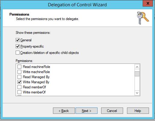 делегирование прав Write Description + Write Managed By в AD на компьютеры