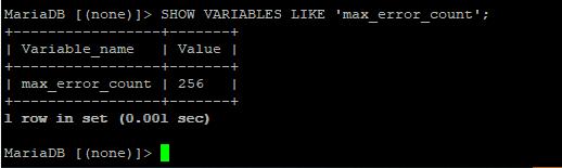 mariadb cli set VARIABLES