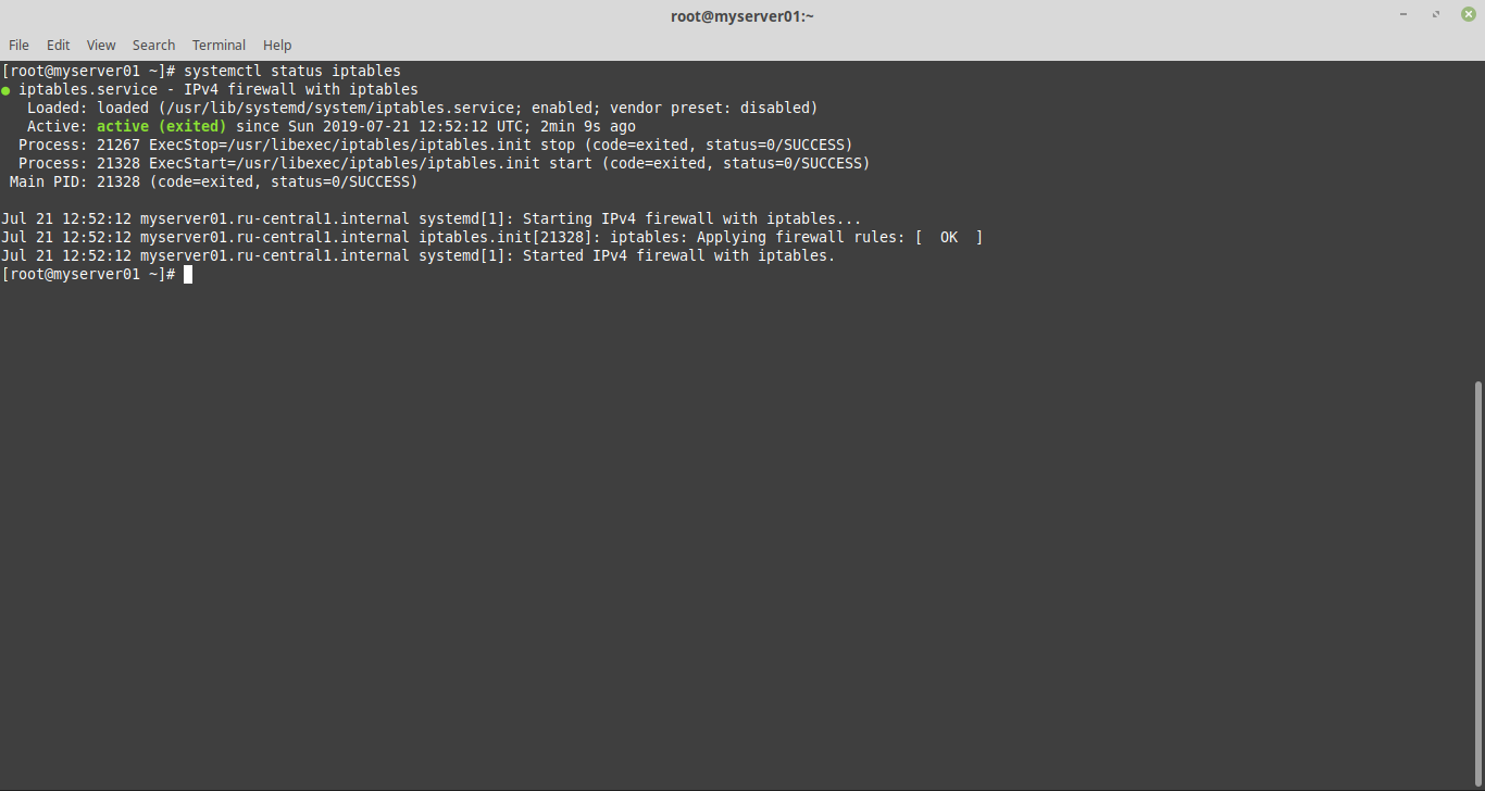 systemctl enable iptables