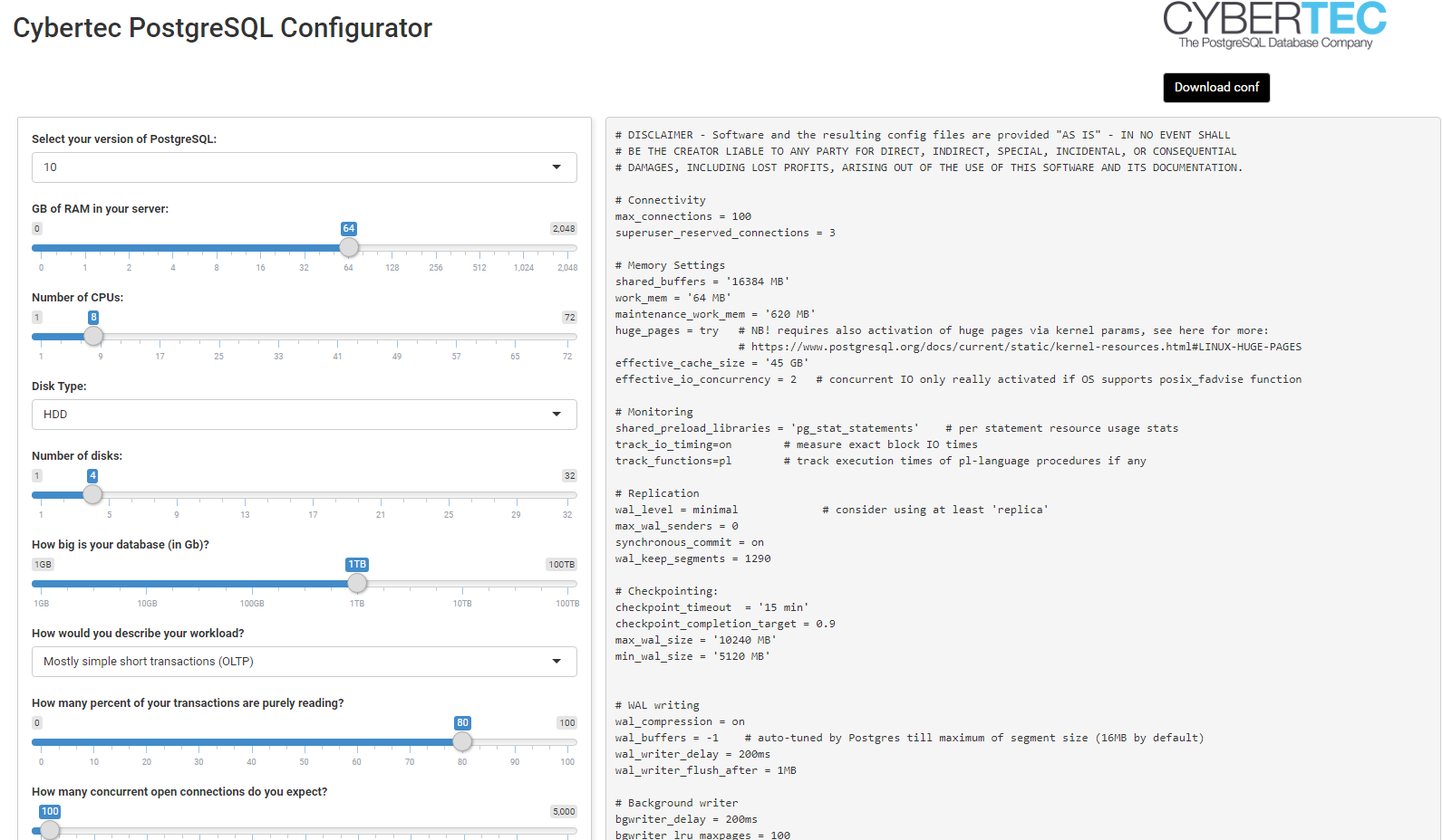 Cybertec PostgreSQL Configurator