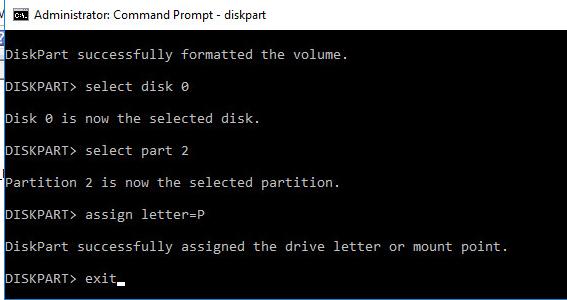 diskpart назначить буквы дискам EFI