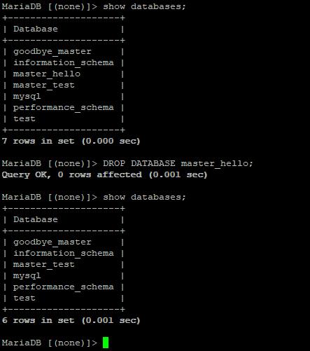 drop database и проверка репликации