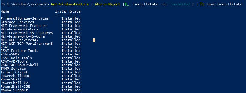 Get-WindowsFeature installstate installed - список установленных ролей windows server 2016
