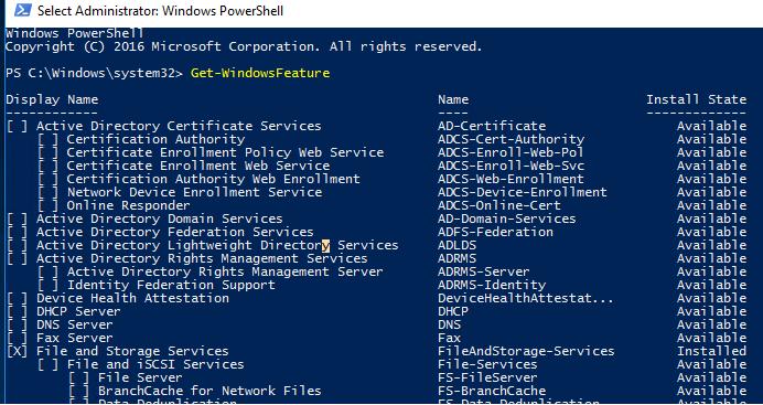 Get-WindowsFeature вывести все роли и компоненты windows server