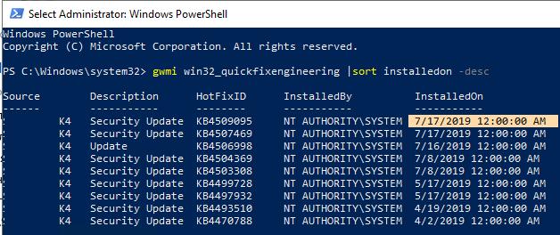 gwmi win32_quickfixengineering - узнать дату последней установки обновлений в windows 10