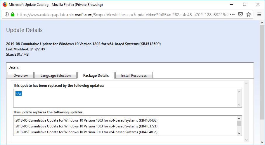 как найти актуальное обновлений в каталоге Microsoft Update Catalog