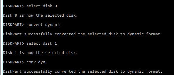 конвертивровать диски в динамические