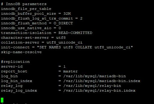 mariadb настройка my.cnf на мастер сервере репликации