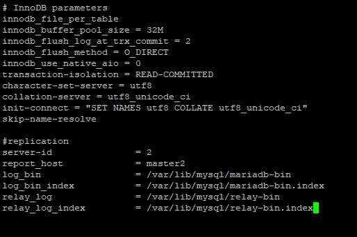 mariadb настройка my.cnf второго сервера при master-master репликации