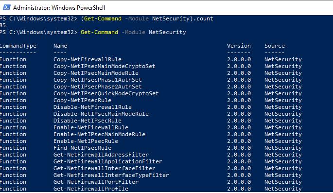 модуль NetSecurity для управления Windows Defender Firewall из PowerShell