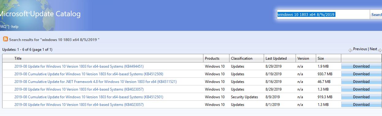 поиск обновлений из Microsoft Update Catalog