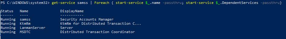 Start-Service запустить службу и все зависимые службы