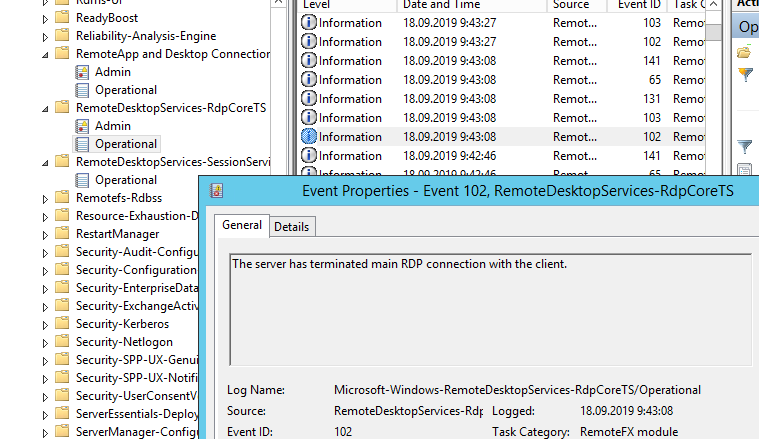 The server has terminated main RDP connection with the client