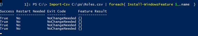 установка ролей Windows Server по эталонному csv файлу