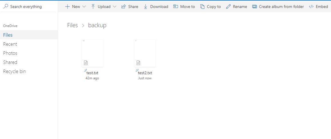 веб интерфейс OneDrive