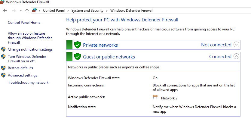 Windows Defender Firewall управление из панели управления