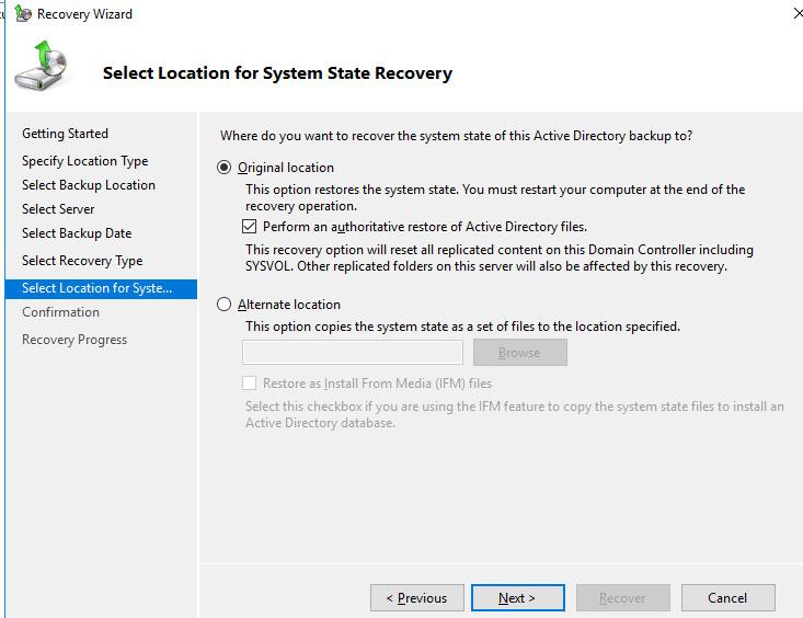авторитативное восстановление Perform an authoritative restore of Active Directory files