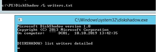 DiskShadow list writers