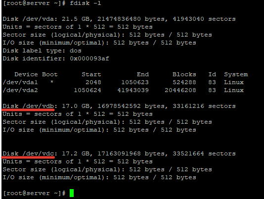 fdisk - определение физических дисков в lunux под LVM