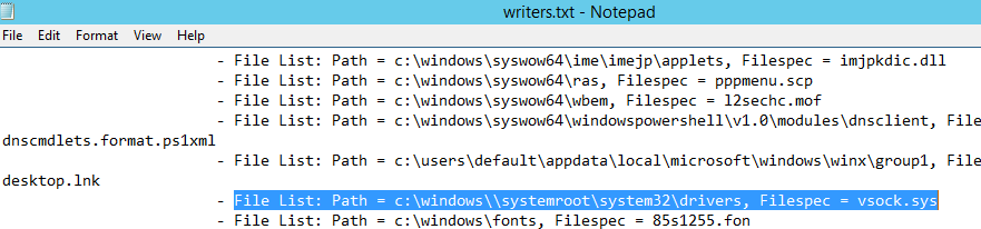 File List: Path = c:\windows\\systemroot\system32\drivers, Filespec = vsock.sys