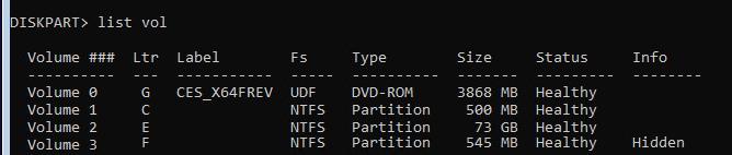 list volumes - список томов