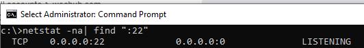nestat - порт 22 ssh сервера windows