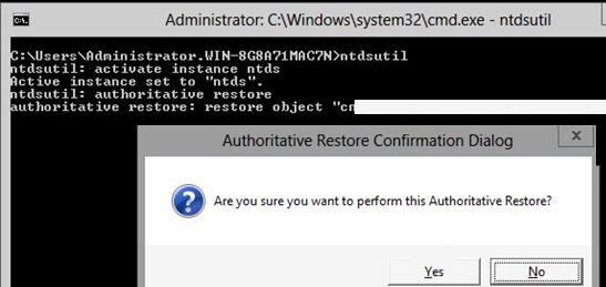 ntdsutil authoritative restore