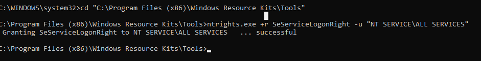ntrights.exe дать права SeServiceLogonRight