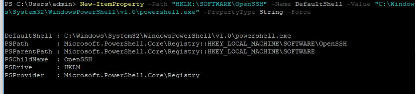 openssh - изменить shell по умолчанию на powershell