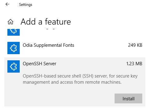 openssh server - установка компонента в windows 10