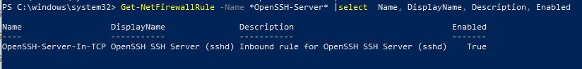 правило firewall для доступа к windows через ssh