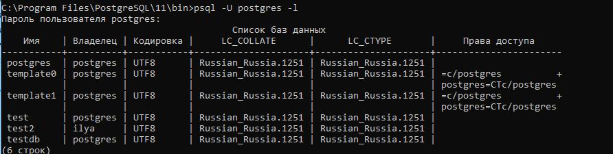 Psql -U postgres вывести список запушенных баз