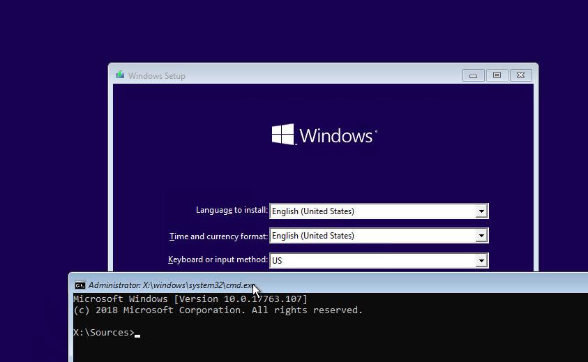 shift+F10 командная строка на экране установки windows 10