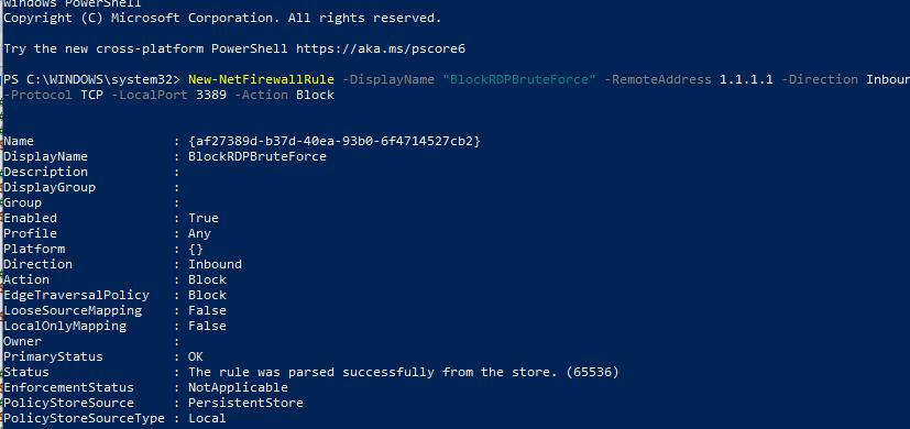 создать правило блокировки RDP с с IP адресов ведущих RDP атаку