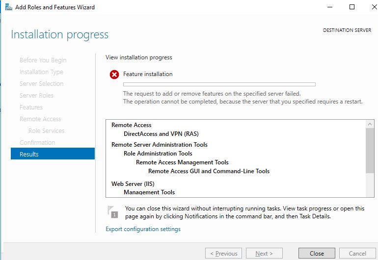 Windows Server 2016 Не удается завершить операцию, так как требуется перезагрузить указанный сервер