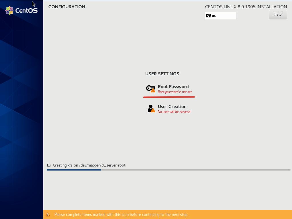 задать пароль root и создать новаых пользователей при установке centos 8