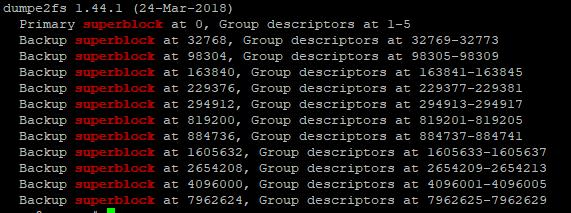 dumpe2fs /dev/vda2 | grep superblock вывод всех сперблоков