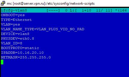 /etc/sysconfig/network-scripts/ifcfg-vlan8 - настройка файла с vlan в centos