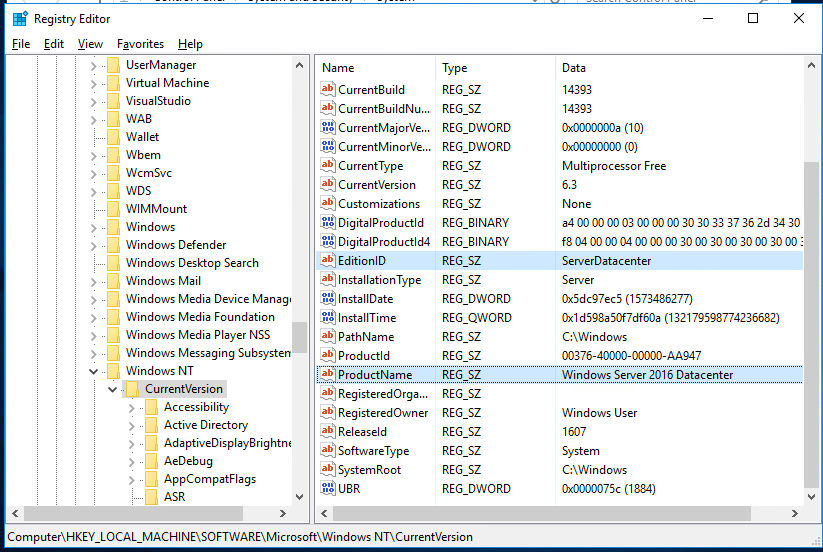 HKEY_LOCAL_MACHINE\SOFTWARE\Microsoft\Windows NT\CurrentVersion - текущая редакция Windows Server