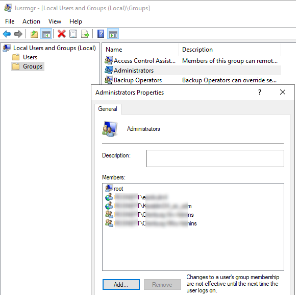 консоль Local users and groups добавление прав локального администратора