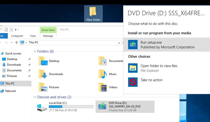 setup.exe - обновление редакции Windows Server 2016 с iso образа