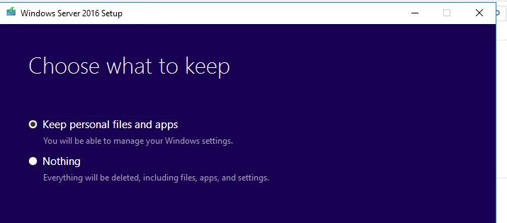сохранить настройки и программы при апгрейде Windows Server 2016