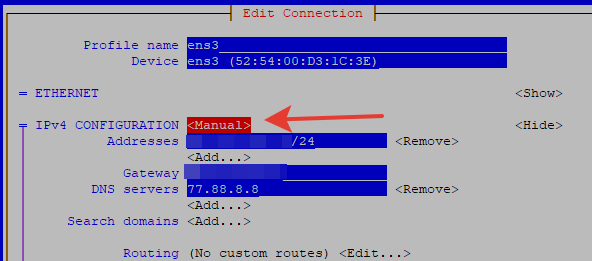 nmtui - способ получения ipv4 адреса manual/automatic