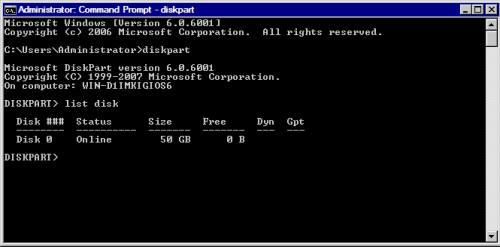 Команда diskpart: список дисків