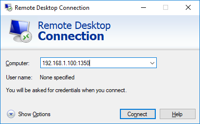 mstsc підключення до нестандартного номеру rdp порту