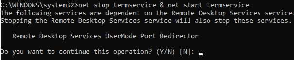 перезапустити службу RDP termservice