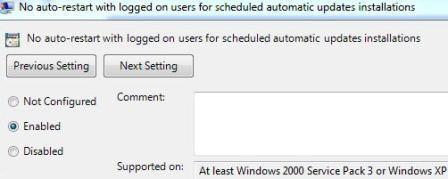 Отключение автоматической перезагрузки после установки обновлений Windows