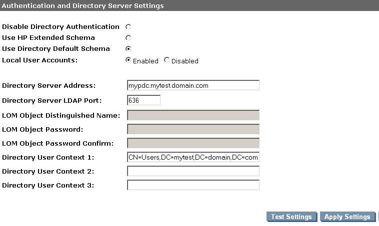 Настройка контролера домена в HP iLO