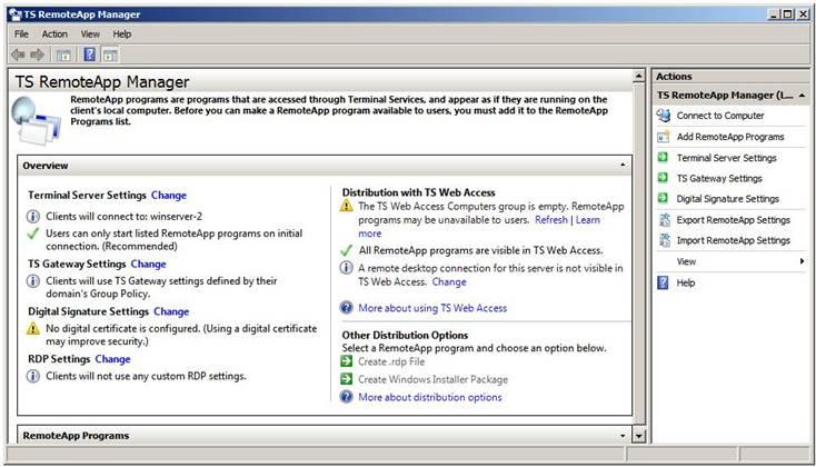 Интерфейс TS RemoteApp Manager
